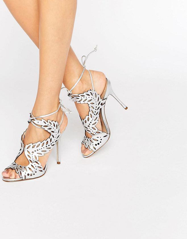129bf7847c0 KG By Kurt Geiger Horatio Silver Leather Heeled Sandals - Liyanah ...