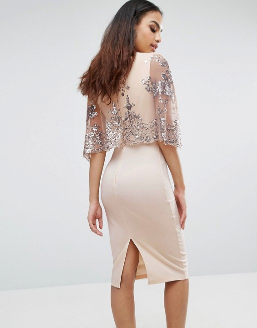 0bf181e5 Club L Sequins Cape Overlay Midi Dress - Liyanah Liyanah.co