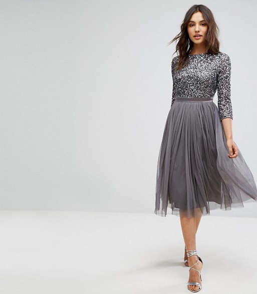 db69db73825 Maya 3 4 Sleeve Midi Dress in Tonal Delicate Sequin and Puffy Tulle Skirt  with Bow Back