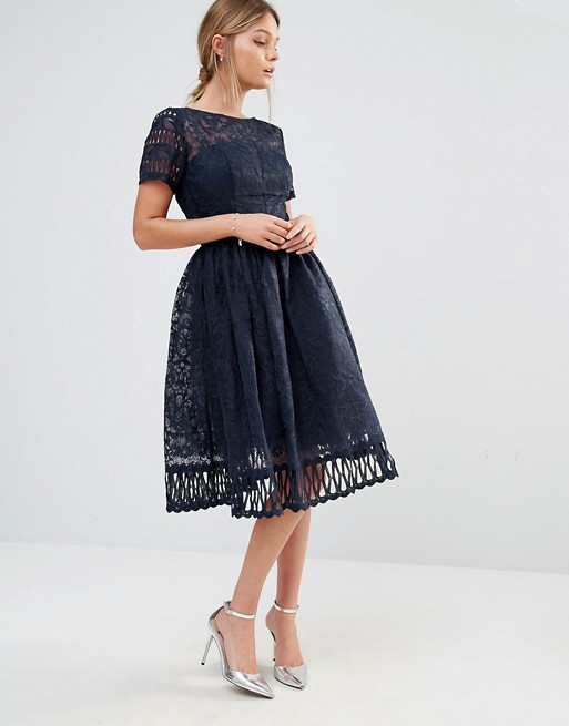 d2cf79281f7 Chi Chi London Premium Lace Dress with Cutwork Detail and Cap Sleeve -  Liyanah