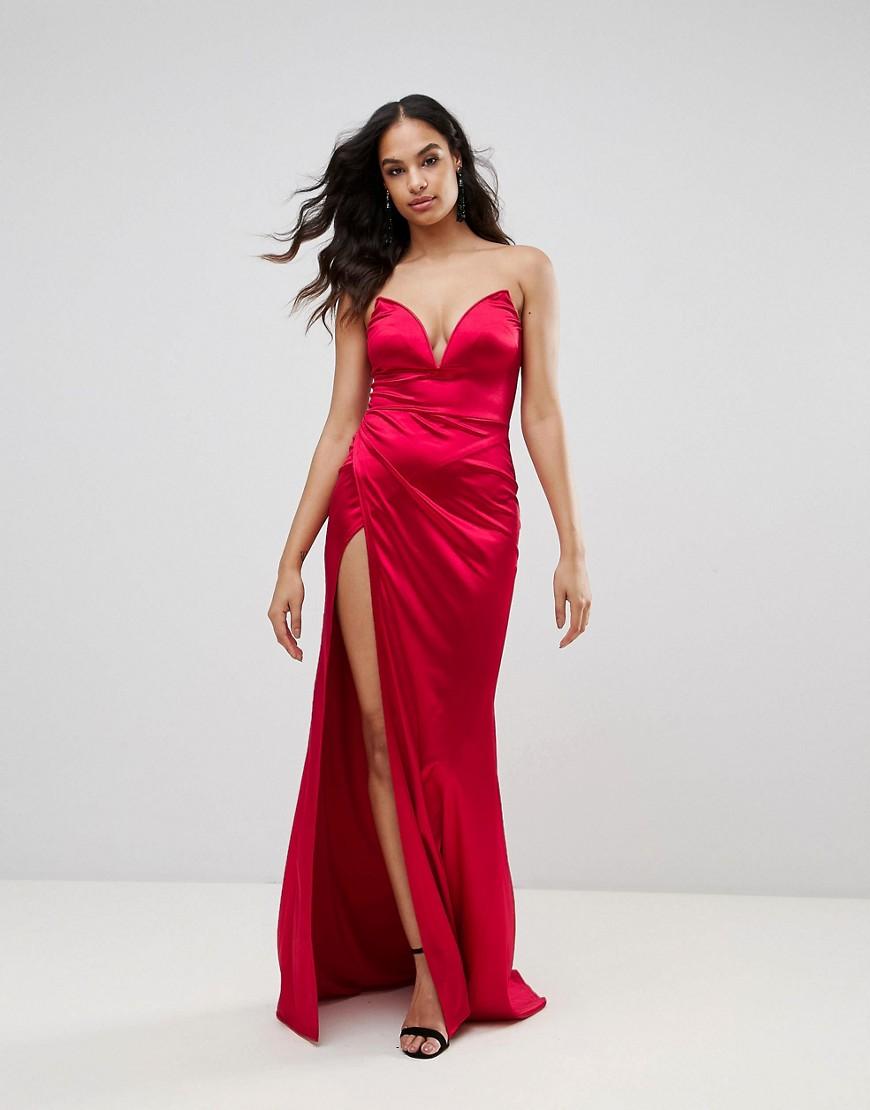 3620b8b16e9 Club L Plunge Front Bandeau Maxi Dress With Thigh Split - Liyanah ...