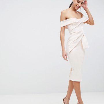461e3905192972 ASOS DESIGN Bardot Fold Wrap Front Midi Pencil Dress - Liyanah