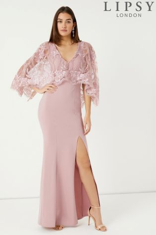 e35fa64378 Lipsy Raksha Lace Cape Pink Maxi Dress - Liyanah Liyanah.co