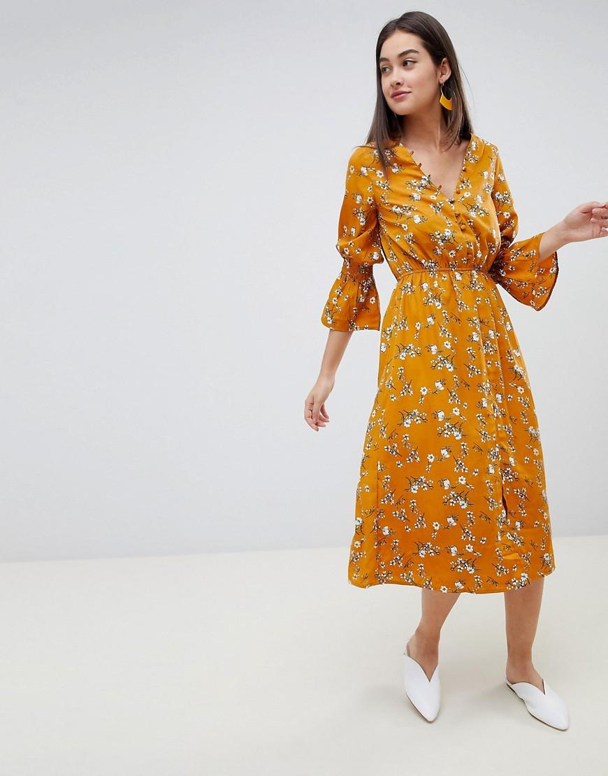 307f97687532 Influence yellow mustard floral button down midi dress - Liyanah ...