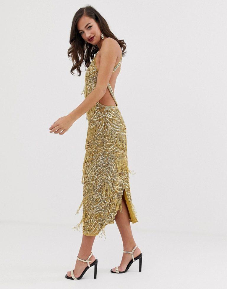 1aa509348df ASOS EDITION sequin fringe cutout bodycon gold midi dress - Liyanah
