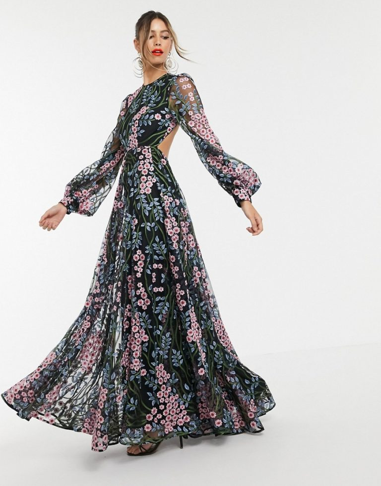 ASOS EDITION floral embroidered maxi dress with open back