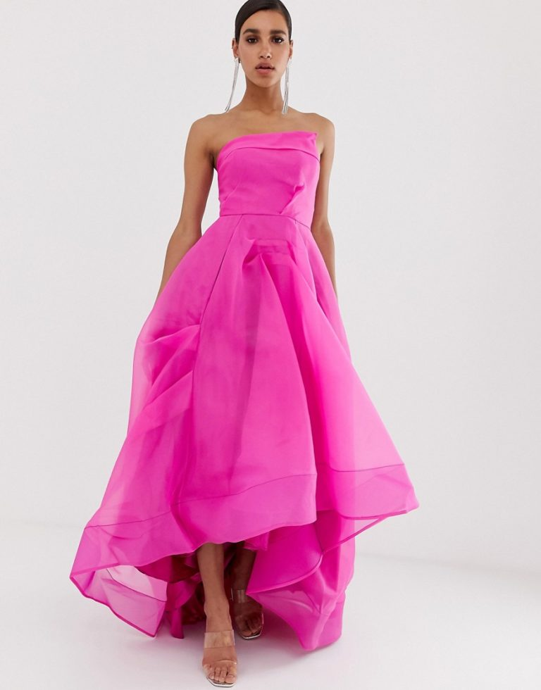 Bariano full maxi dress with origami bust detail in fuchsia