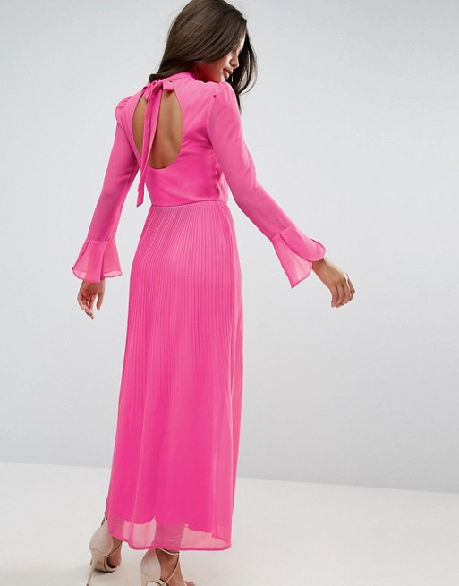 ASOS High Neck Pleated Maxi Dress with Open Back - Liyanah