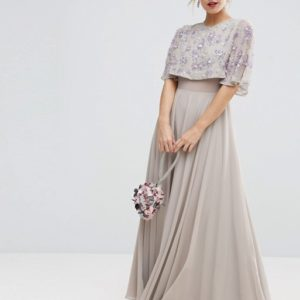 ASOS PETITE Embellished Short Sleeve Floral Maxi Dress - Liyanah