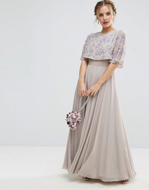 ASOS PETITE Embellished Short Sleeve Floral Maxi Dress - Liyanah