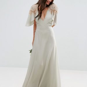 ASOS WEDDING Lace Applique Cape Maxi Dress - Liyanah