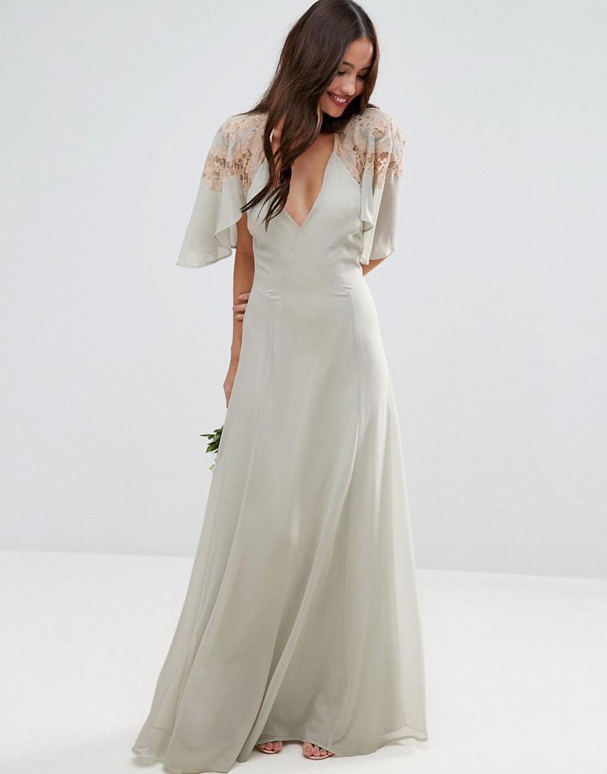 ASOS WEDDING Lace Applique Cape Maxi Dress - Liyanah
