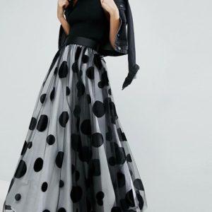 Liyanah - ASOS White Flocked Spot Tulle Maxi Skirt