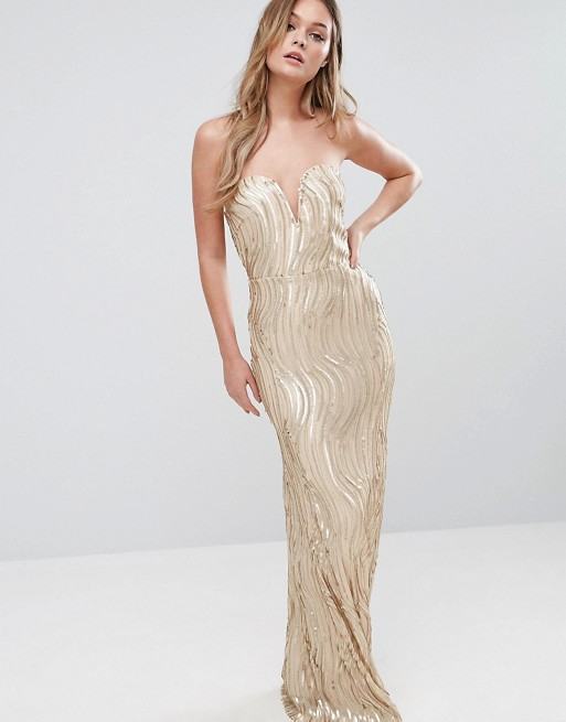TFNC Bandeau Maxi Dress In Wave Sequin - Liyanah