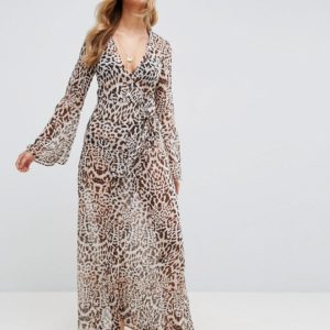 ASOS Beach Maxi Kimono Cover Up in Leopard Print - Liyanah
