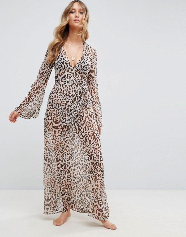ASOS Beach Maxi Kimono Cover Up in Leopard Print - Liyanah