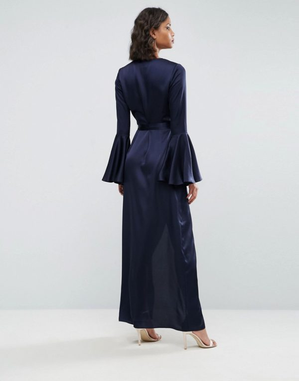 ASOS Fluted Sleeve Wrap Front Maxi Dress - Liyanah