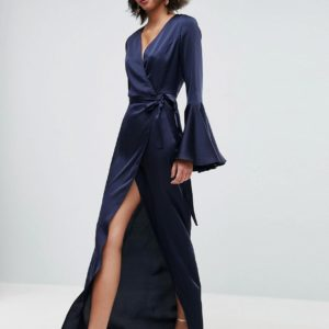 ASOS Fluted Sleeve Wrap Front Maxi Dress - Liyanah