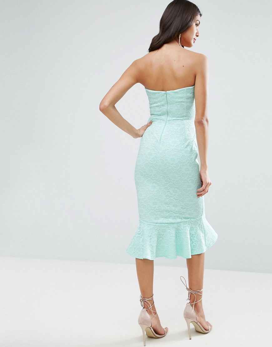 ASOS Lace Bandeau Pephem Midi Dress - Liyanah