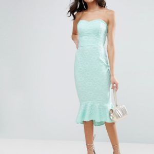ASOS Lace Bandeau Pephem Midi Dress - Liyanah