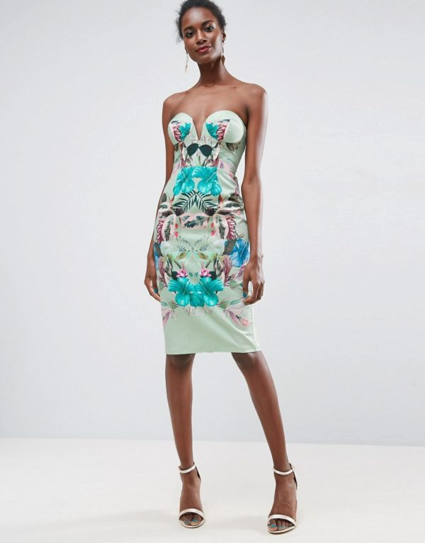 ASOS Mint Tropical Floral Placed Cupped Bandeau Midi Dress - Liyanah