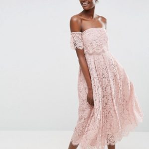 ASOS Off the Shoulder Lace Prom Midi Dress - Liyanah