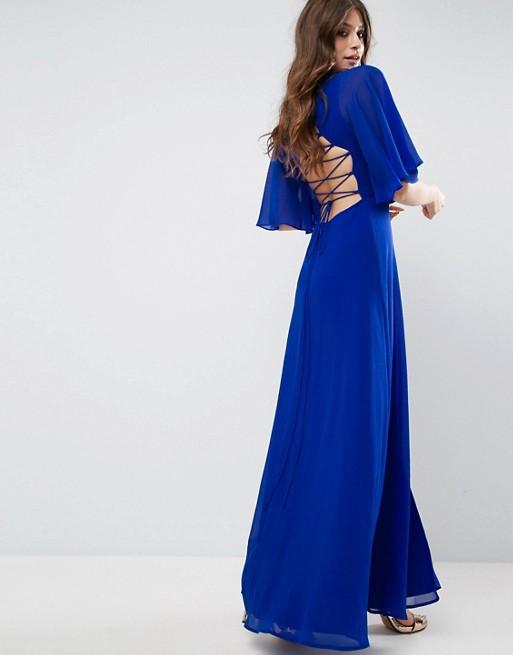 ASOS Strappy Back Flutter Sleeve Maxi Dress - Liyanah