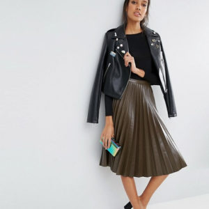 ASOS TALL Pleated Leather Look Midi Skirt - Liyanah