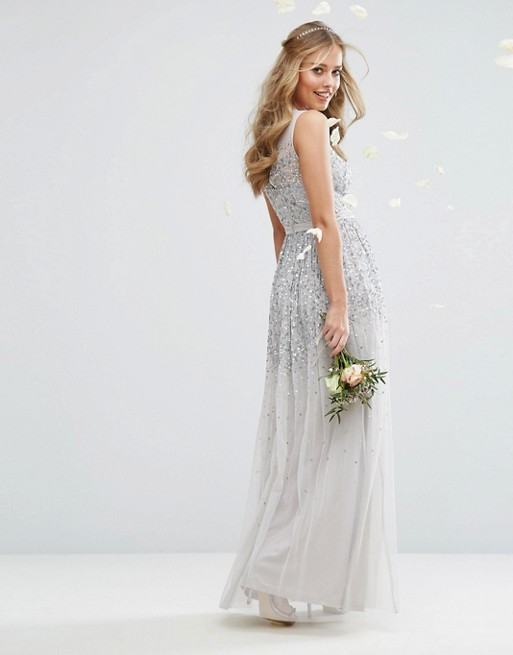 Amelia Rose Mesh Maxi Dress With Sequin Embellished Placement - Liyanah