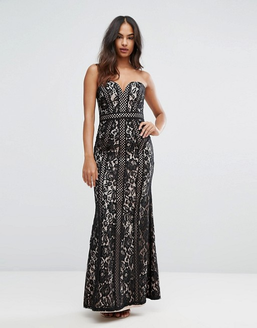 Bariano Sweetheart Maxi Dress In Panelled Lace- Liyanah
