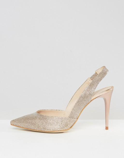 Carvela Acorn Gold Sling Point Heeled Shoes - Liyanah