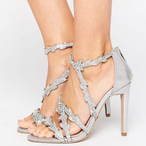 Carvela Goa Silver Embellished Heeled Sandals - Liyanah