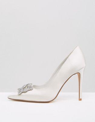 Dune Bridal Breanna Embellished Satin Court Shoes - Liyanah