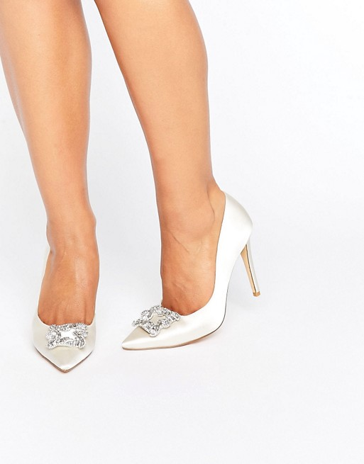 Dune Bridal Breanna Embellished Satin Court Shoes - Liyanah
