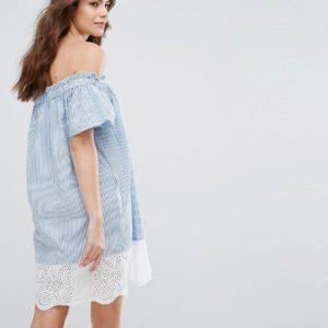 French Connection Belle Stripe Off-Shoulder Dress - Liyanah