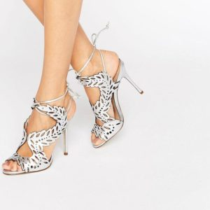 KG By Kurt Geiger Horatio Silver Leather Heeled Sandals - Liyanah