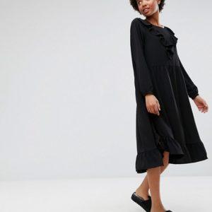 Monki Frill Detail Midi Dress - Liyanah