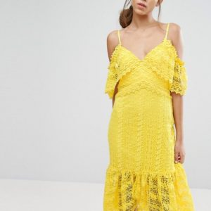 Three Floor Cold Shoulder Midi Lace Dress - Liyanah