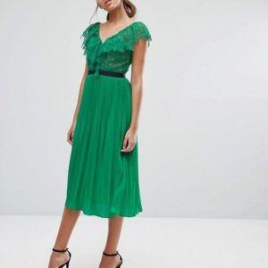 Three Floor Midi Dress with Pleated Skirt and Frill Detail - Liyanah