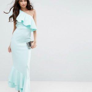 ASOS One Shoulder Ruffle Top Asymmetric Hem Maxi Dress - Liyanah