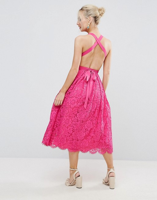 ASOS PETITE SALON Lace Halter Pinny Midi Prom Dress - Liyanah