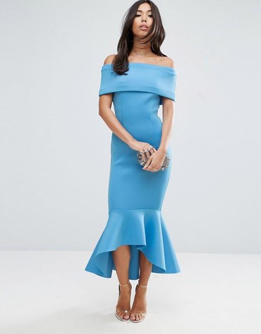 ASOS PREMIUM Deep Fold Pephem Midi Dress - Liyanah
