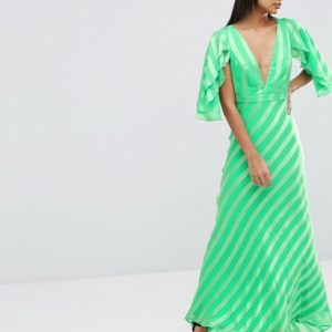 ASOS Ruffle Self Stripe Flutter Sleeve Maxi Dress - Liyanah