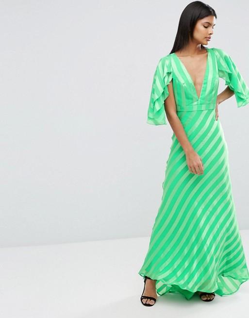 ASOS Ruffle Self Stripe Flutter Sleeve Maxi Dress - Liyanah