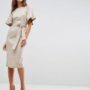 ASOS Shoulder Detail Pencil Dress in Linen With Obi Belt - Liyanah