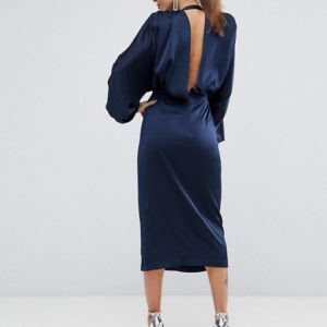 ASOS Shoulder Pad Long Sleeve Selenia Midi Dress - Liyanah