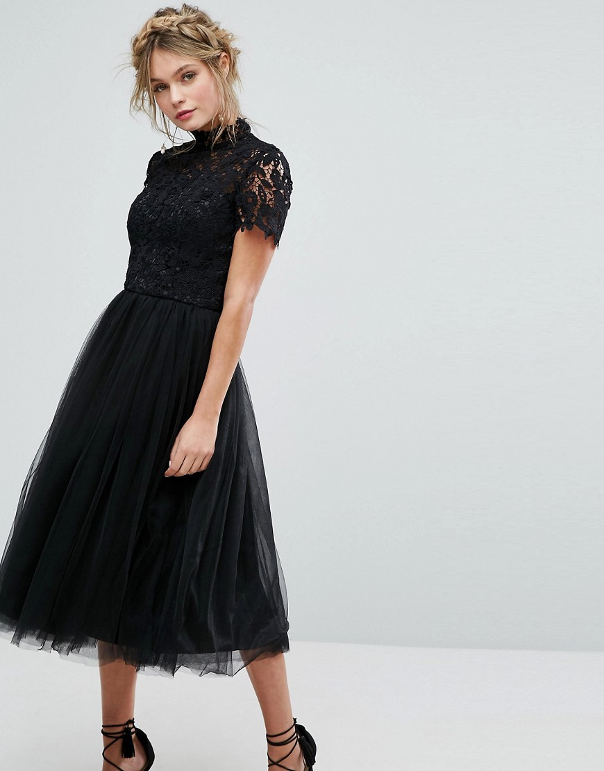 Chi Chi London High Neck Lace Midi Dress With Tulle Skirt - Liyanah