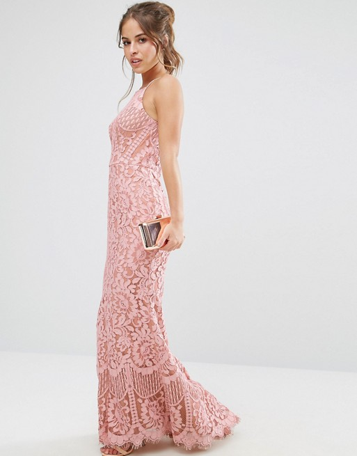 Jarlo Petite Allover Lace High Neck Maxi Dress - Liyanah