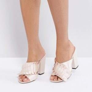 Lost Ink Nude Pleat Detail Mules - Liyanah