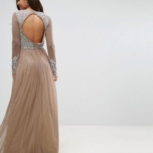 Maya Tall Long Sleeve Open Back Lace Detail Maxi Dress - Liyanah